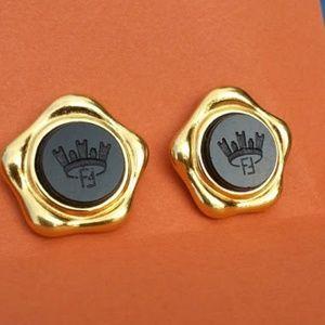 Fendi Jewelry - Fendi vintage black crown goldplated clipon earrng